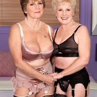 Sexy over 60 woman seduce a young guy for a threesome in their lingerie