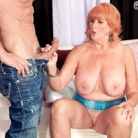 Older pornstar unleashes large natural tits before jerking and sucking fat dick