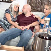 Over 60 MILFs Luna Azul and Sally D'Angelo deliver a dual hand job and blow-job