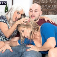 60 plus MILFs Sally D'Angelo and Luna Azul give a double hand job and BJ combo