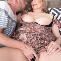 Aged broad Crystal King has her big tits played with by a younger dude