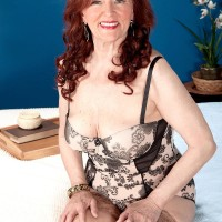 Big-titted ginger-haired grandmother Katherine Merlot giving immense boner oral job in nylons