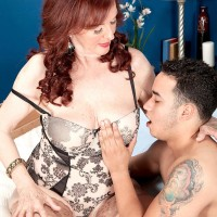 Big-titted ginger-haired grandmother Katherine Merlot giving immense boner oral job in nylons