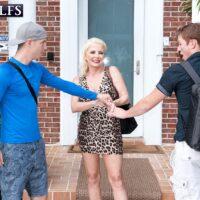 Fair-haired grannie Cammille Austin milks a pair of boners after seducing studs in a dress