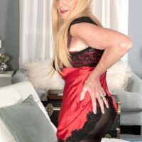 Blonde nan Charlie entices a junior dude in lingerie and black stockings