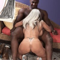 Huge-boobed 60 plus XXX video starlet Sally D'Angelo gets boned by a younger black man