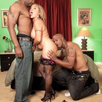 Busty golden-haired MILF over 60 Luna Azul nailed by huge black penis during interracial MMF