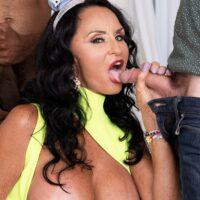 Huge-boobed granny Rita Daniels blows gigantic white and ebony pricks for bday number 69