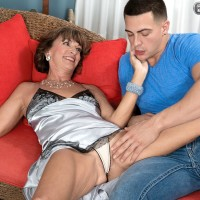 Experienced first-timer over 60 Sydni Lane uncovering flappy titties from lingerie before sex