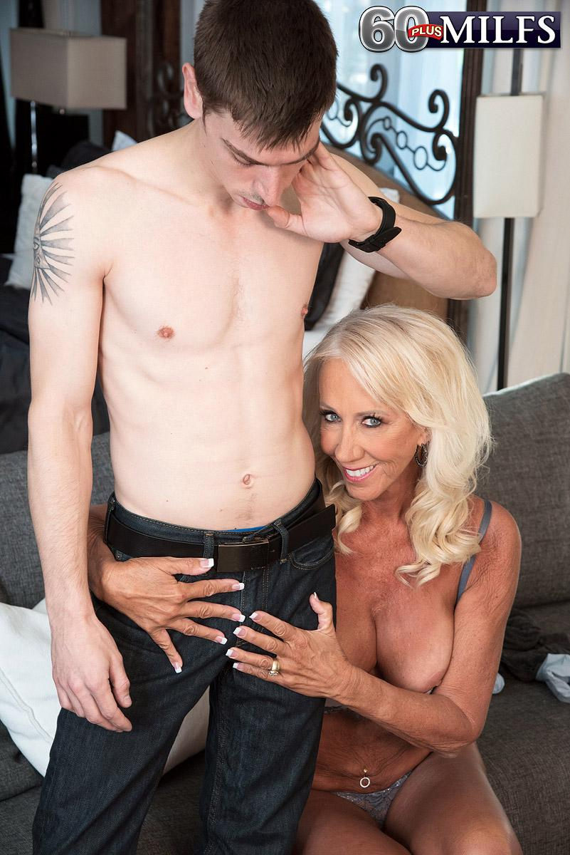 Fabulous over 60 MILF Madison Milstar tempts a junior stud in her brassiere and underwear