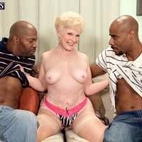 Filthy granny Jewel hooks up with 2 immense black knobs for MMF threesome dream
