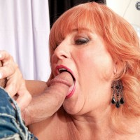 Gawky redhead grannie Jackie having big fun bags blown before giving gigantic prick oral pleasure