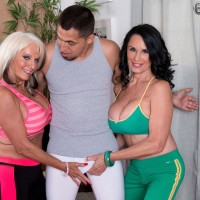 Granny porn industry stars Sally D'Angelo and Rita Daniels press humungous hooters together in Threesome