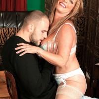 Inviting MILF over 60 Lexi McCain seducing junior man in white hosiery and lingerie