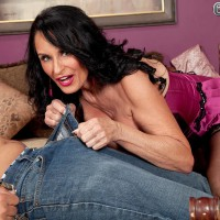 Lingerie and tights outfitted aged pornographic star Rita Daniels licking massive wood with tongue