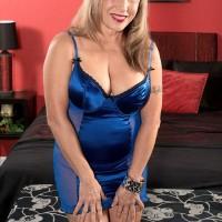 Lingerie clad ash-blonde grannie Luna Azul releasing gigantic breasts before MMF Three-way sex