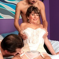 Lingerie garmented over Sixty MILF Bea Cummins jerking off large rods in MMF 3some