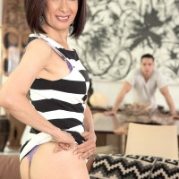 Little Chinese grannie Kim Anh stripping down to silk lingerie and thong panty set