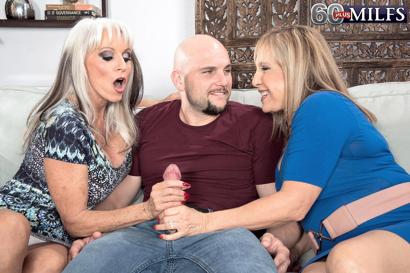 Mischievous 60 plus moms Sally D'Angelo and Luna Azul delivering massive hard-on oral pleasure in threeway