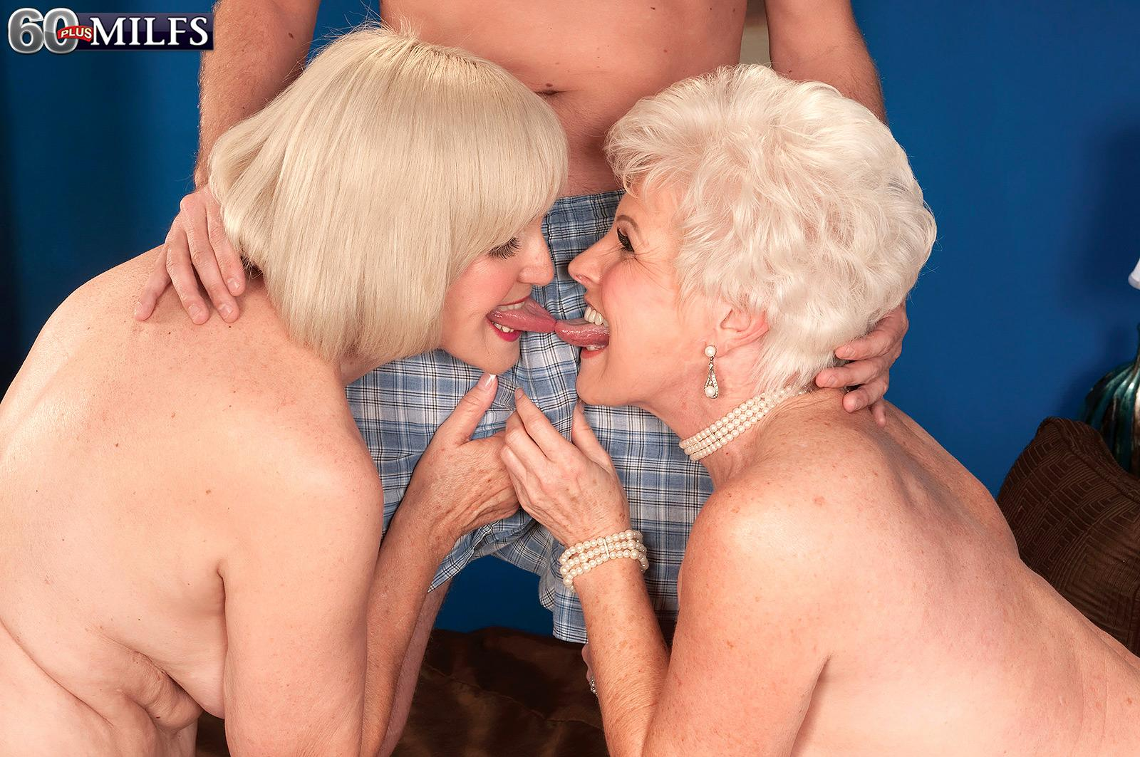 Mischievous nannas Jewel and Lola Lee giving dual fellatio in tan pantyhose