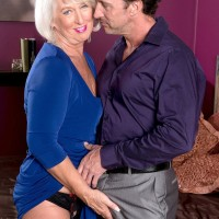 Non nude 60 plus MILF Jeannie Lou baring massive older fun bags in crotchless skivvies