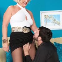 Nylons and skirt garmented grandma Jeannie Lou blowing humungous hard-on on knees