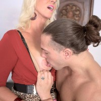Older ash-blonde X-rated actress Madison Milstar unsheathing gigantic all natural fun bags before hard-core sex
