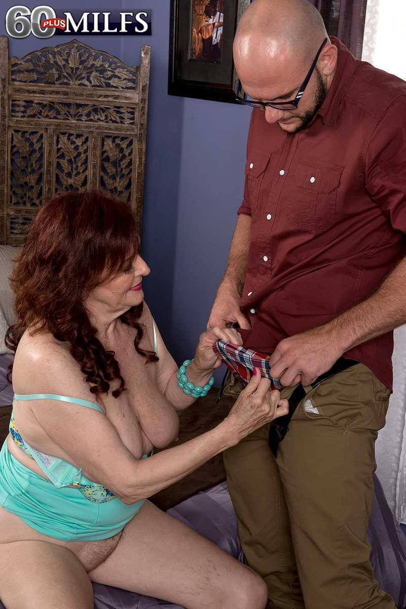 Mature Babe Katherine Merlot Takes A Younger Man's Phallus