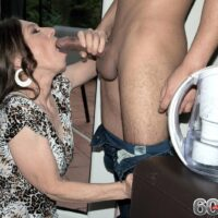 Over sixty MILF Mona gives a BJ after seducing a younger man in her backyard