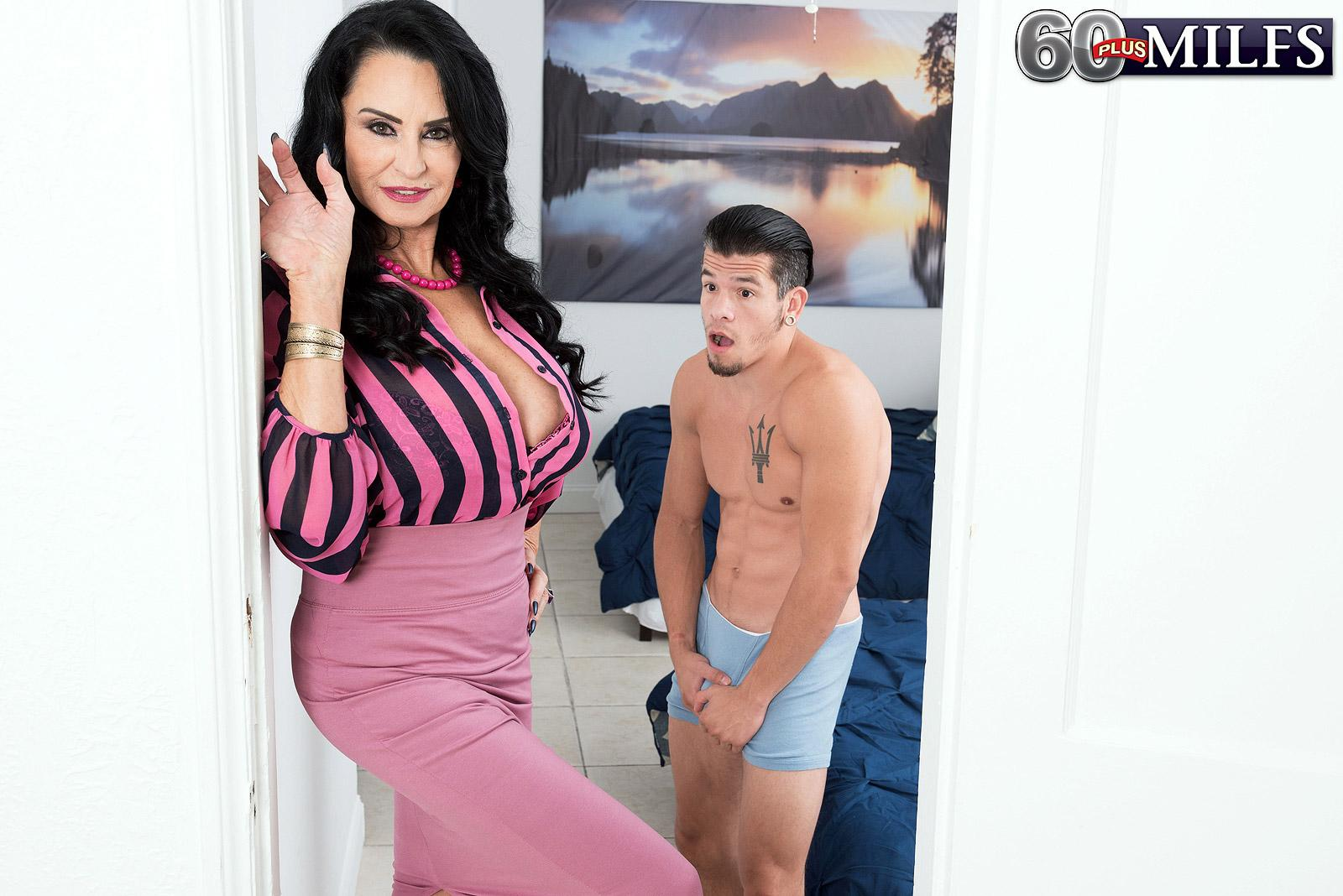 Over 60 MILF Rita Daniels entices her stepson and masturbates his pecker after disrobing him