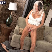 Over 60 MILF Sally D'Angelo unleashing humungous breasts before providing giant boner fellatio