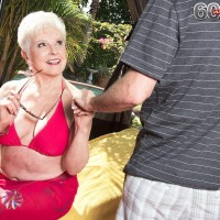 Over Sixty grannie Jewel letting out hefty funbags from bikini before doggie screwing