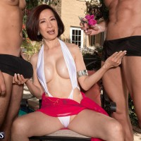 Over Sixty Japanese MILF Kim Anh wanking off big pricks outdoors before MMF sex