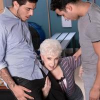 Over Sixty older pornostar Jewel blowing big hard-ons during bi-racial MMF