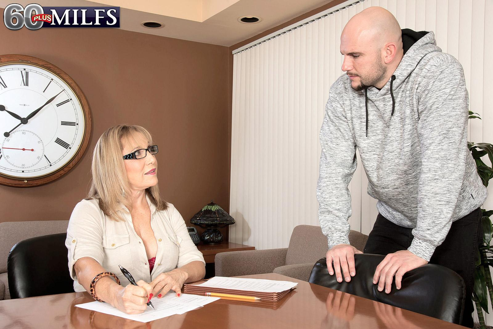 Over sixty teacher Luna Azul seduces a masculine schoolgirl in her office place