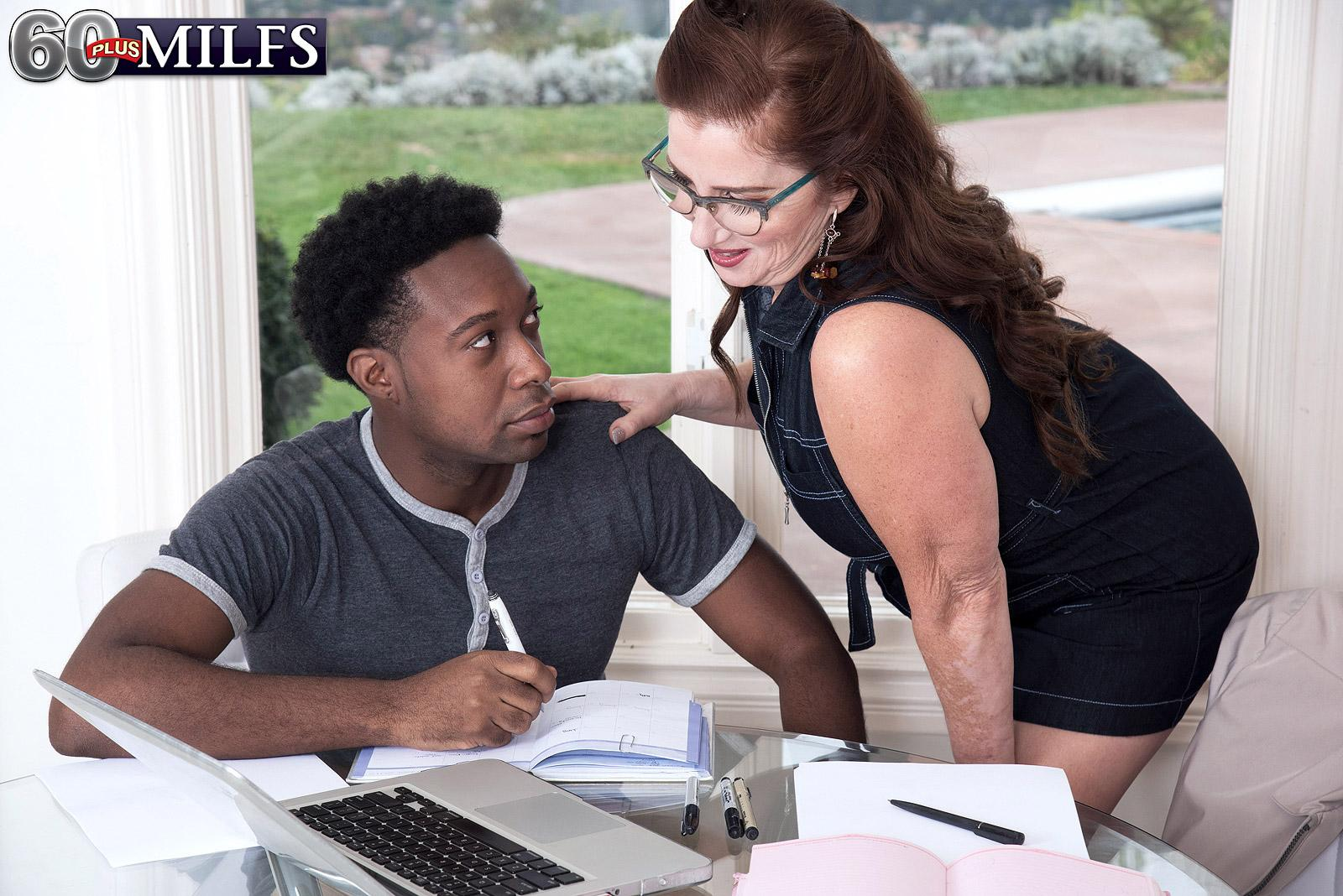 Over sixty woman Maria Fawndeli seduces a younger black dude while tutoring him