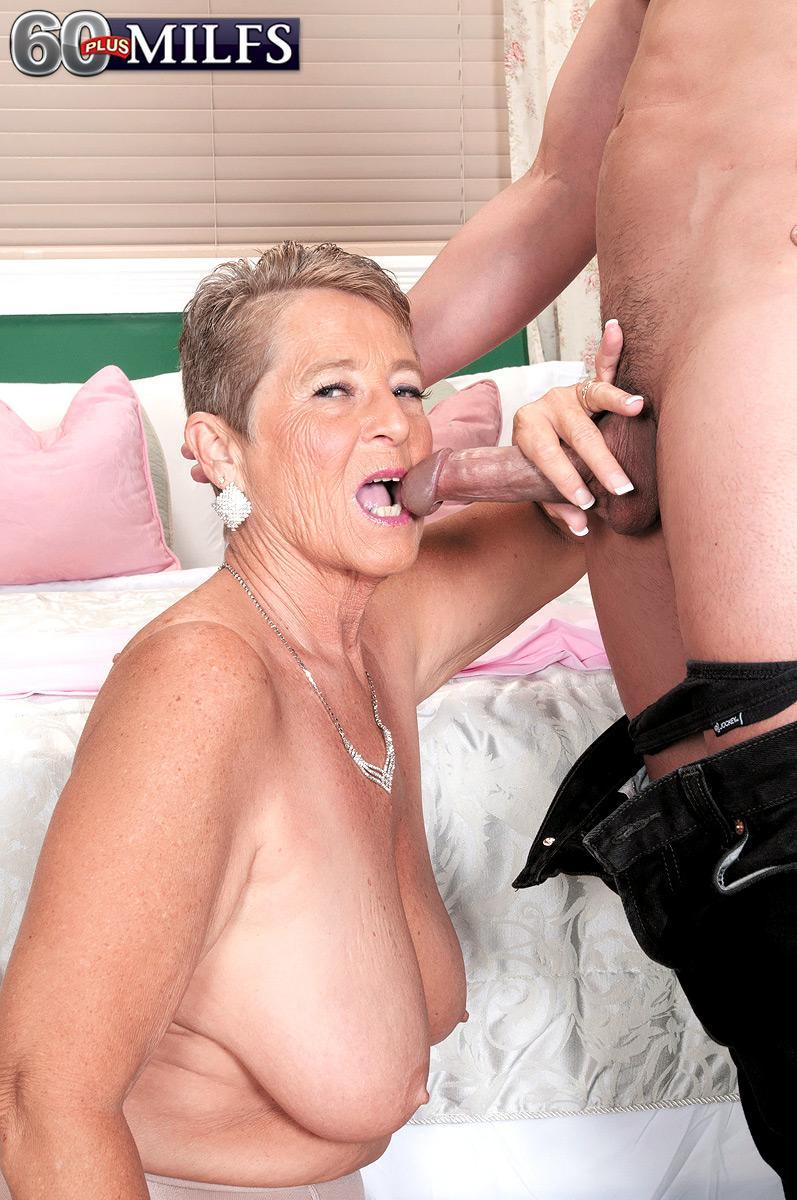 Plump granny Joanne Price loosing huge hooters before giving massive boner blowjobs in nylons