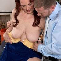 Redhead grandma Katherine Merlot releasing immense flappy aged hooters before blow-job