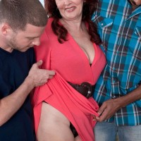 Redheaded grandma Katherine Merlot baring massive ass before bi-racial MMF 3 way