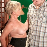Round older cfirst-timer DeAnna Bentley freeing monster-sized breasts in pantyhose before BLOW JOB
