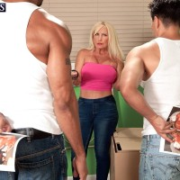 Sandy-haired grandma Julia Butt unsheathing nice funbags in denim jeans before multiracial MMF 3 way
