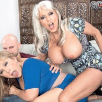 Sixty plus COUGARS Sally D'Angelo and Luna Azul give a dual hj and blowjob
