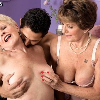 Sloppy grandmas Bea Cummins and Jewel tongue smooch and give humungous junk double BLOW-JOB
