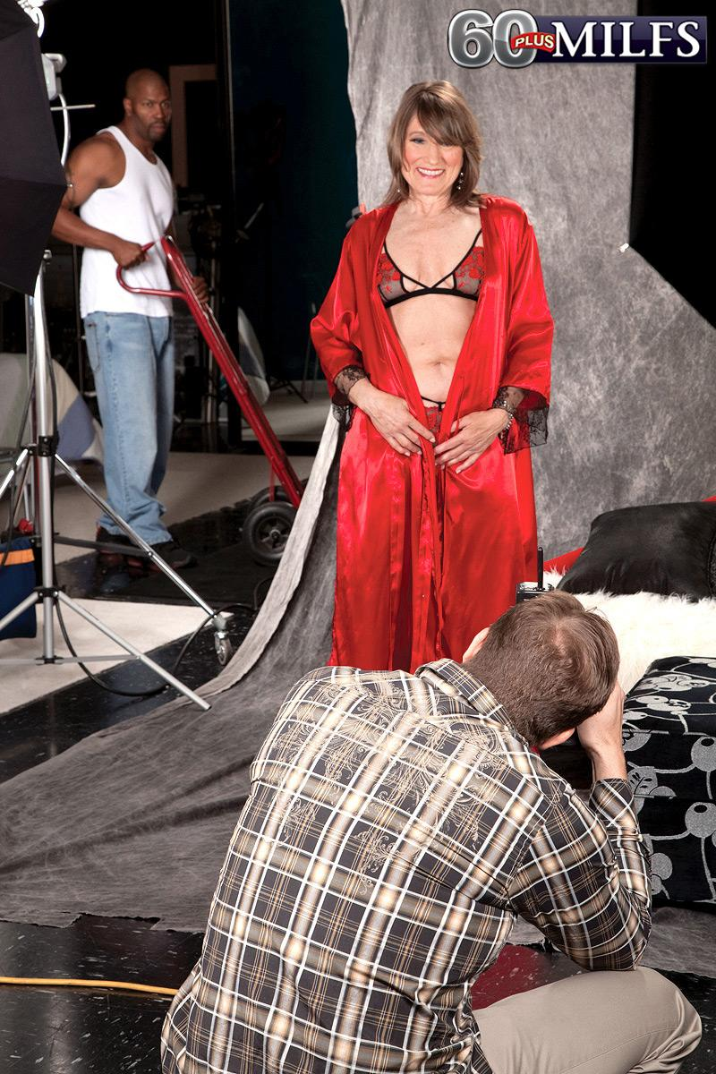 Stocking and lingerie adorned MILF over 60 Donna Davidson having multiracial MMF