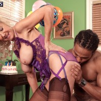 Stocking and lingerie attired aged blond Summeran Winters having bi-racial sex