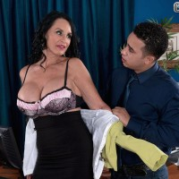 Stocking and skirt attired grandma Rita Daniels stripping down to lingerie in office