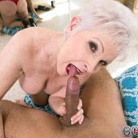 Stocking garmented Sixty plus MILF Jewel revealing huge fun bags before delivering enormous boner a oral job