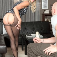 Stocking outfitted MILF over 60 Erica Lauren vaunting enticing ass and monster-sized experienced boobies