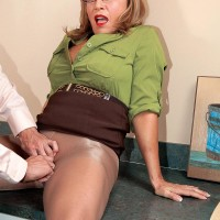 Stockings wearing experienced office place employee Luna Azul baring massive titties before providing BLOW-JOB