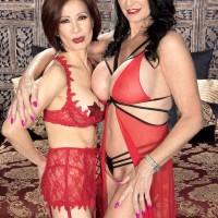 Uber-sexy elder women Rita Daniels and Kim Anh have a threeway with junior stud